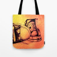 sneakers Tote Bags featuring Sneakers by ladyberula