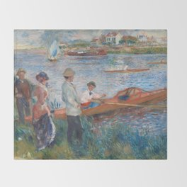 Oarsmen at Chatou Painting by Auguste Renoir Throw Blanket
