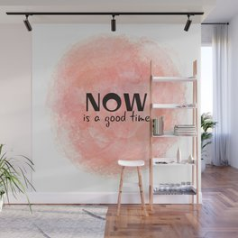 Now Is A Good Time (black on coral) Wall Mural