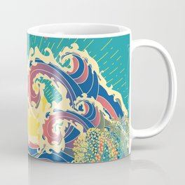 Stylized trees and stormy ocean or sea at sunset Coffee Mug