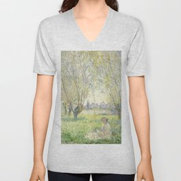 Woman Seated under the Willows (1880) by Claude Monet Unisex V-Neck