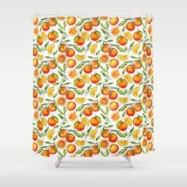 orange pattern tangerine citrus print Shower Curtain