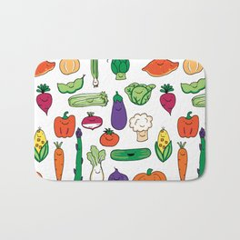 Cute Smiling Happy Veggies on white background Bath Mat