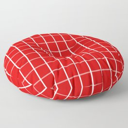 Large White on Red Grid Pattern | Floor Pillow