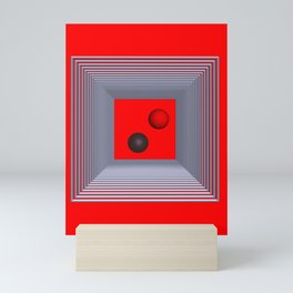 geometry on red background -3- Mini Art Print
