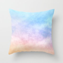 Pastel Rainbow Watercolor Clouds Throw Pillow