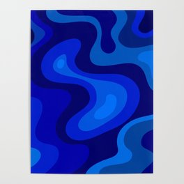 Blue Abstract Art Colorful Blue Shades Design Poster
