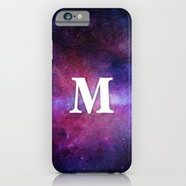 Monogrammed Logo Letter M Initial Space Blue Violet Nebulaes iPhone Case