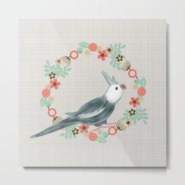 Cockatiel Pillow Flower Bird Wreath grey bird Metal Print