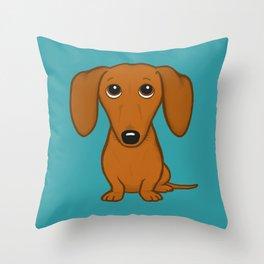 Shorthaired Dachshund Cartoon Dog Throw Pillow
