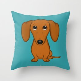 Shorthaired Dachshund Cartoon Dog Throw Pillow