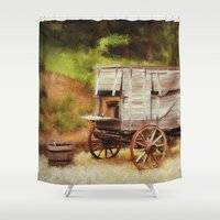 chuck Shower Curtains featuring Chuck Wagon by Mary Timman