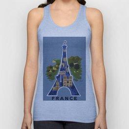 Vintage France Eiffel Tower Travel Poster Unisex Tank Top