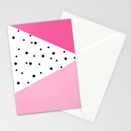 Black dots & pink leader Stationery Cards
