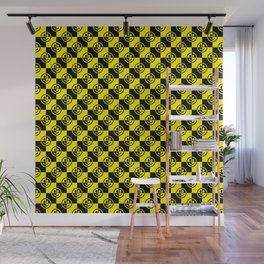 Yellow and Black Smiley Face Check Wall Mural