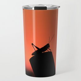 Colorful Kansas Sunset with a Grass Hopper silhouette on a post. Travel Mug