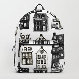 Mansard Mansions in Black + White Watercolor Backpack
