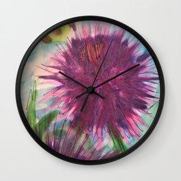 Purple Thistle Growing Wall Clock