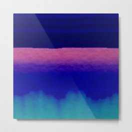Midnight Blue Pink and Teal Abstract Art Metal Print