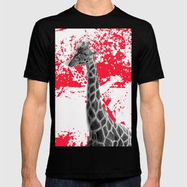 Giraffe Abstract In Red T-shirt