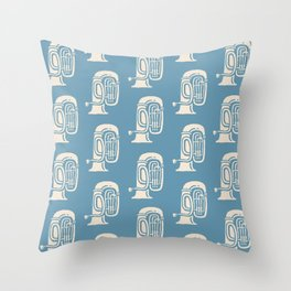 Tuba Pattern Blue and Beige Throw Pillow