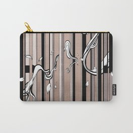 "Typography x illustration ""FLIP"" incorporate with abstract lines and flowers' movement Beige Pink Carry-All Pouch"