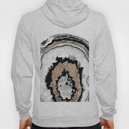 Gray Black White Agate with Gold Glitter #1a #gem #decor #art #society6 Hoody