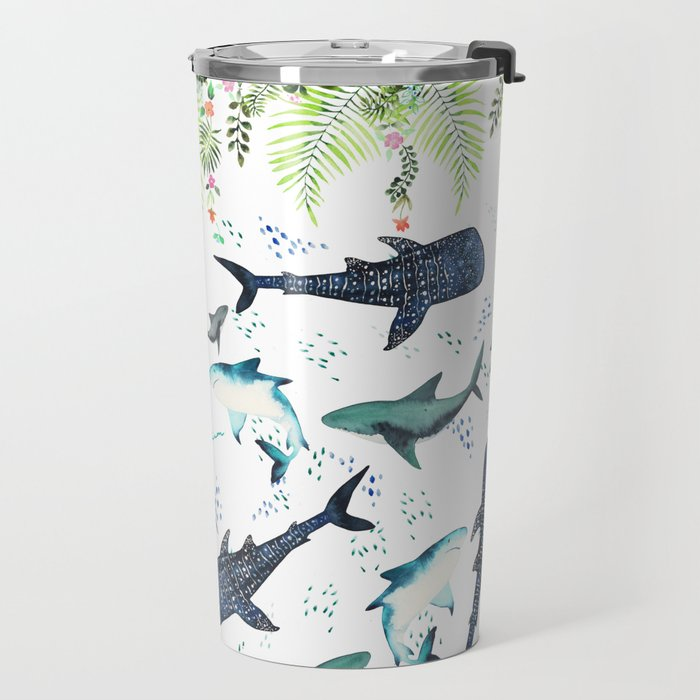 floral shark pattern Travel Mug