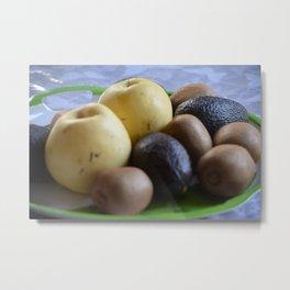 fruits tray, pear, avocado and kiwi.  Metal Print