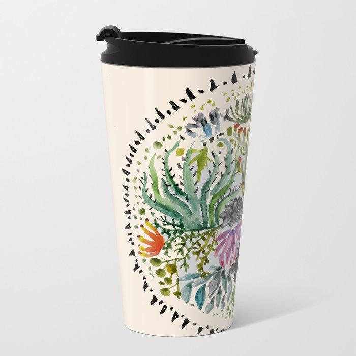 Succulents Mandala Metal Travel Mug