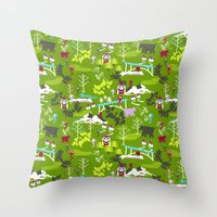 hiking Throw Pillows featuring Hiking by misslin