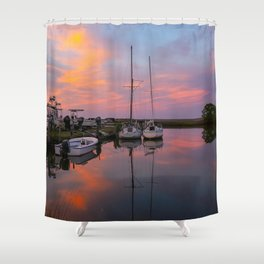 Boats in Poquoson at Sunset Shower Curtain