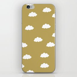 White clouds in green yellow background iPhone Skin