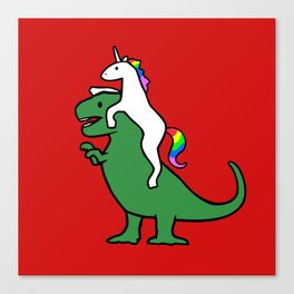 Unicorn Riding T-Rex (Red Background) Canvas Print