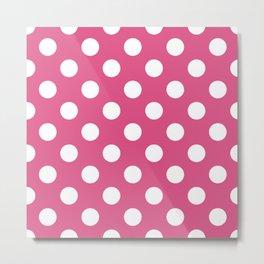 Fandango pink - pink - White Polka Dots - Pois Pattern Metal Print