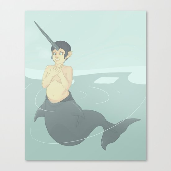 Narwhal Mermaid Canvas Print