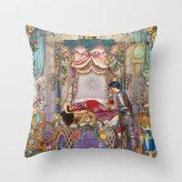 sleeping beauty Throw Pillows featuring Sleeping Beauty by Aimee Stewart