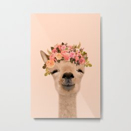 Alpaca with flower crown Print, Alpaca Wall Art, Modern Minimal, original art, art print Metal Print