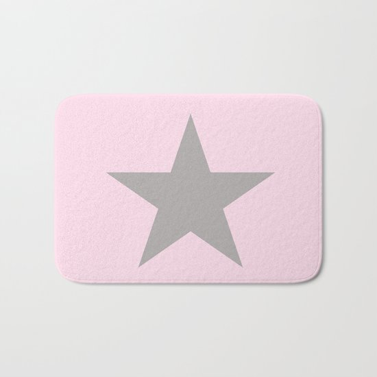 Grey star on pink background Bath Mat
