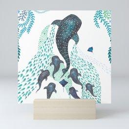 Whale Shark Pod Voyage Ocean Print Mini Art Print