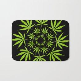 Cannabis Leaf Circle (Black) Bath Mat