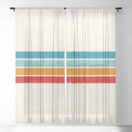 Colored Retro Stripes Sheer Curtain