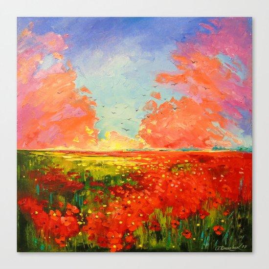 Dawn of the poppy field Canvas Print
