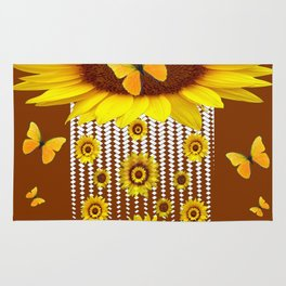 MODERN YELLOW BUTTERFLIES & SUNFLOWERS COFFEE BROWN Rug