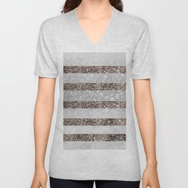 White Marble Rose Gold Glitter Stripe Glam #2 #minimal #decor #art #society6 Unisex V-Neck