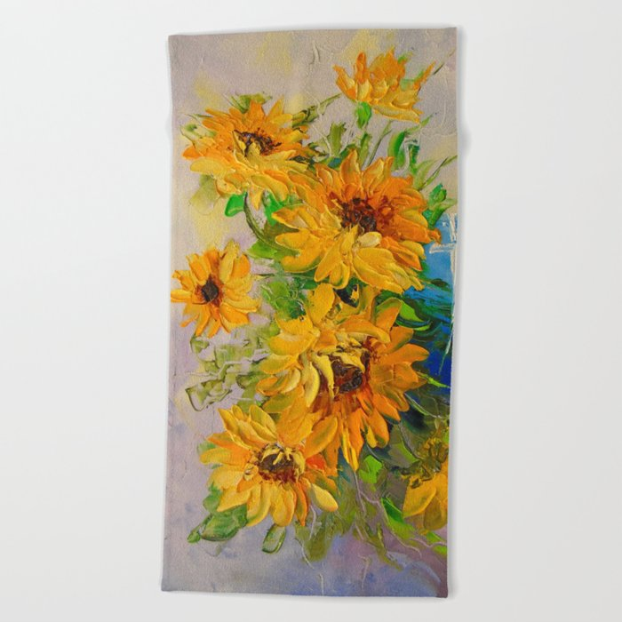 Bouquet of sunflowers in a vase Beach Towel