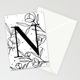 Black Letter N Monogram / Initial Botanical Illustration Stationery Cards