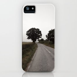 misty road in derbyshire iPhone Case