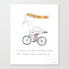 seagulls on bicycles Canvas Print