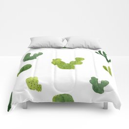ABSTRACT WATERCOLOR CACTUS PATTERN Comforters